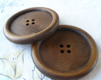 """44MM Wood Coat Buttons Extra Large 1.75"""" Size 70L medium stain 4 hole sew on rustic sewing craft collecting"""
