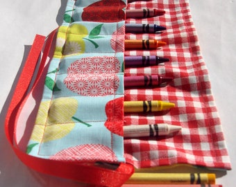 Crayon Roll Up Crayon Holder Colorful Apples - Holds 8 Crayons