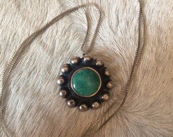 Upcycled old pawn turquoise and sterling silver necklace