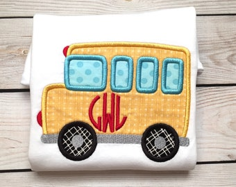 School bus applique shirt or onesie with name, Boys back to school shirt, boys monogram shirt, boy bus shirt, girls back to school shirt