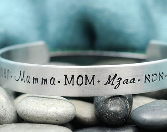Mom Jewelry - Mom in Different Language Bracelet - Personalized Bracelet - Custom Cuff - Mamma - Mother's Day Gift
