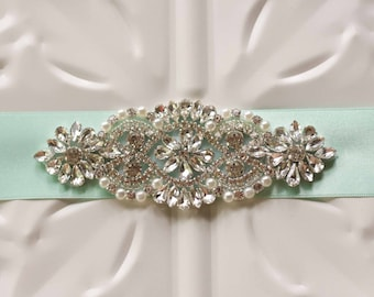 Bridal Sash, Rhinestone and Pearl Wedding Sash Belt, Ribbon Sash