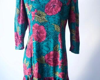 1980's mermaid 3/4 sleeve mini dress