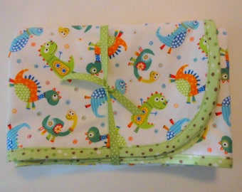 Baby Blanket Handmade Receiving Blanket Flannel Blanket for Baby Little Dino