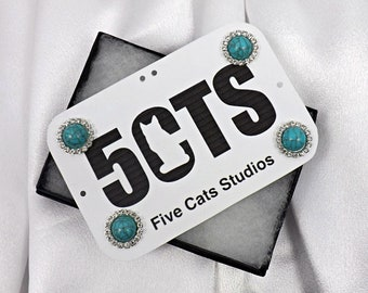 Turquoise and Crystal Back Number Magnets