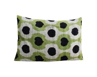 Silk Velvet Ikat Pillow Cover VP72, Bohemian pillow, Velvet Ikat Pillow, Velvet Pillow, Velvet Pillow Cover, Ikat Pillows, Throw Pillows