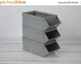 SALE SALE SALE Vintage Industrial Bins Stacking Storage Organization Rustic All American Chicago Metal Mid Century Home Decor Business Offic