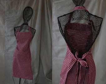 Vintage Red Gingham Apron for kitchen cooking / gardening / artist   Gift for her