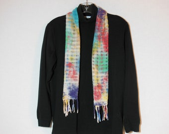 Scarf, Handwoven cotton scarf with fringe, OOAK