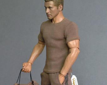 1/6th scale brown T-shirt for: action figures and male fashion dolls