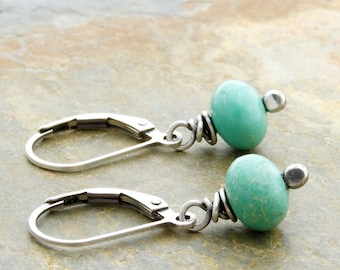 Turquoise Earrings for Her - December Birthstone - Sterling Silver, #4729