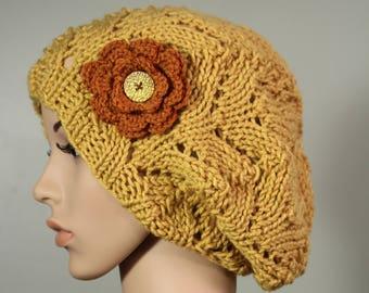 Super Slouchy Hat with or without Flower - Sungold - Handknit Cap - Women's - Burnt Pumpkin Flower - Interchangeable