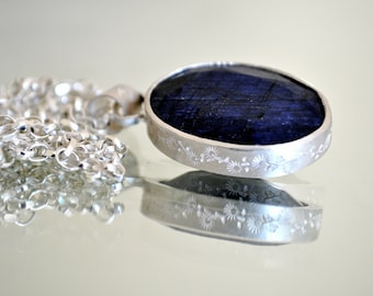 Handcrafted Large Silver Ornate Sapphire Pendant