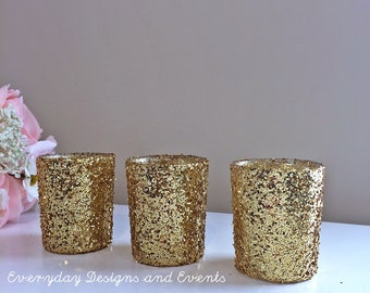 12 gold votive candle holders, gold wedding decor, gold wedding centerpiece, wedding decorations, gold centerpiece, wedding candles, votives