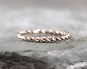 Pink and White Gold Band - Twist Band - 14K Pink and White Gold Ring - Stacking Ring - 14K Rose and White Gold Wedding Band