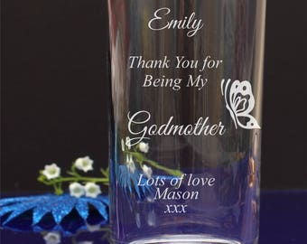 Personalised Engraved Thanks for being my Godmother/Godfather Hi-ball, Mixer Glass 82