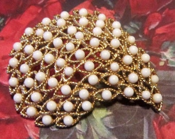 Vintage Gold Brooch With White Beads