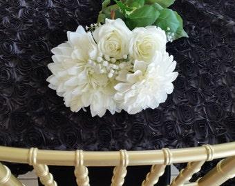 Black Rosette Sequin Tablecloth, Rosette Sequin Overlay