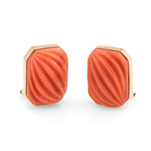 Carved Natural Coral Square Earrings Vintage 14k Yellow Gold Estate Jewelry