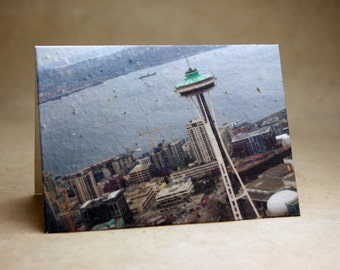 Space Needle Seed Paper Seattle City Print Recycled Cotton Blank Notecard Set - Northwest Photography