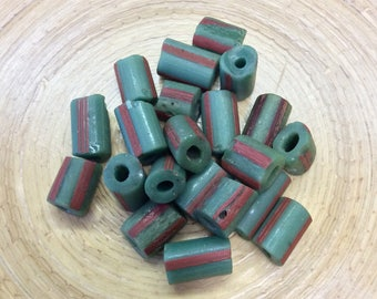 Rustic Green Trade Beads with Red Stripe