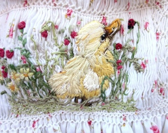 Smocked Baby Dress, Size 1/ Hand Smocked Hand Embroidered /Said the Duckling to the Ladybug