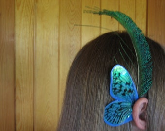 Blue Stripe with Feather Ear Wings