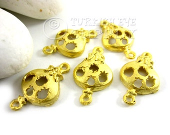5 pc Pomegranate Connector Charms, Matte 22K Gold Plated Brass Pomegranate Charm, Turkish Jewelry