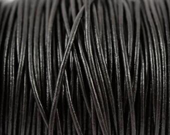 1.5mm Black Leather Round Cord - Subtle Shine