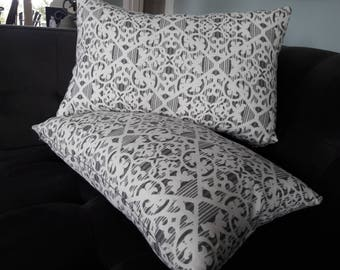 CHARCOAL AND WHITE Trellis Design Pillow Cover
