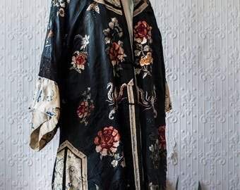 Silk Embroidered Turn of the Century Embroidered Kimono
