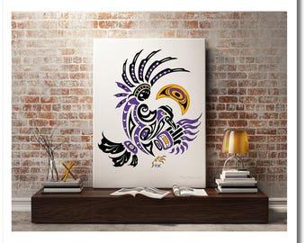 "Haida Art Style Raven - ""Moon Dance"" - Fine Art Print, Giclee Print, Poster Print of Pacific Northwest Coast Crow Art"