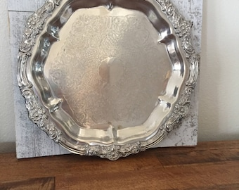Silver Plated Tray F B Rogers - Heavy Ornate Silver Tray - Antique Mid Century Silver Serving Tray - Wedding Decor - Bridal Baby Shower