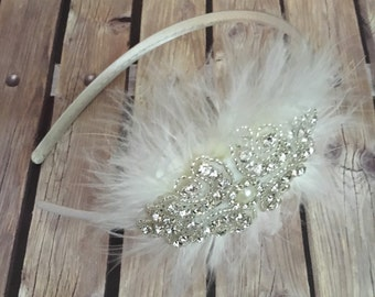 Rhinestone headband, ivory headband, flower girl headband, wedding headband, dressy headband, formal headband, halo, baby headband,