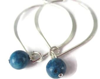 Lotus Petal Hoop Earrings in Sterling Silver with Interchangeable Gemstone Drop Blue Purple Pink Pearl