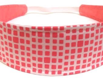 Adult Headband Woman, Womens Headband, Headband for Women  - Coral & White Geometric Squares  -  CORALINE