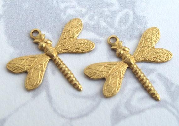 Brass Dragonfly Charms (4X) (M741)