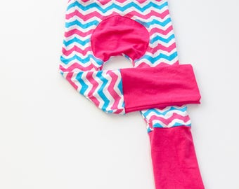 Chevron and Fuchsia Baby Big Butt Pants - Grow with me pants - Cloth diaper friendly - Toddler - Gift
