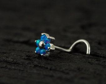 Skyblue Opal Gems flower nose stud/nose ring/nose screw