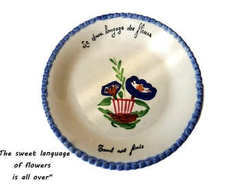French Country Plate/ Blue White French Plate/ Hand Painted Flowered Decorative Plate.