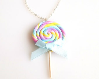 Rainbow Lollipop Necklace, Lollipop Necklace, Candy Necklace, Miniature Food Necklace, Polymer Clay Sweets, Food Jewelry, Candy Jewelry