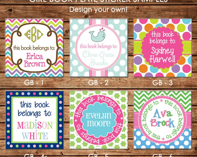 24 Square Personalized Girl Book Plates Bookplate Stickers Labels - Choose ONE DESIGN