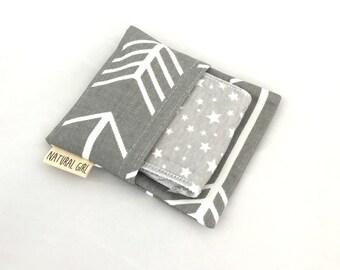 Natural Girl re-usable modern cloth sanitary menstrual pads. x1 Regular pad with purse wrapper. Grey star print.
