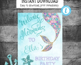 MERMAID Welcome Sign | Mermaid Party Sign | Digital Instant Download | Edit yourself | Mermaid Party Decoration
