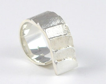 Stairway to the moon ring in sterling silver