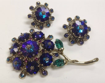 Vintage Weiss Signed Margarita Flower Bouquet Brooch and Clip on Earring Set