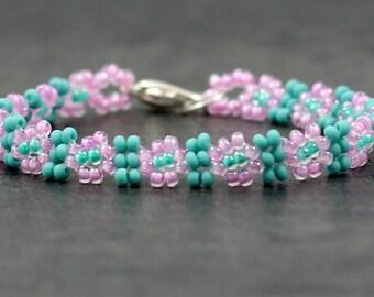 Girls Bracelet - Beaded Daisy Chain - Children's Jewelry - Turquoise Pink - Seed Bead Bracelet - Kids Bracelet - Child's Jewelry