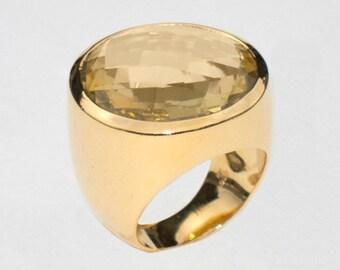 Ring with Lemon Quartz, Size 8.5