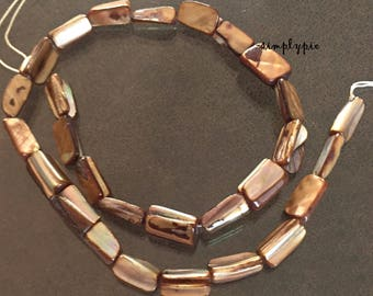 Brown Tube Mother of Pearl Shell Beads Full Strand MOP