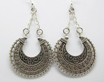 Silver Tribal Earrings - Antique Silver Tribal Earrings - Hippy - Boho - Tribal - Gypsy - Festival - Ethnic Earrings - Hoop Earrings